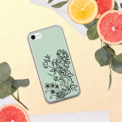 Wildflowers with Teal background iPhone Case