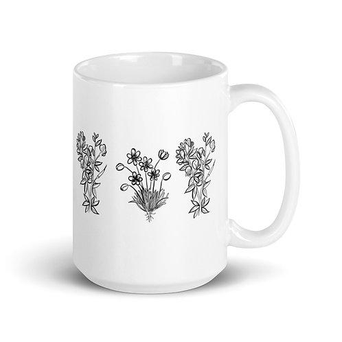 3 Wildflower (one-sided) White glossy mug