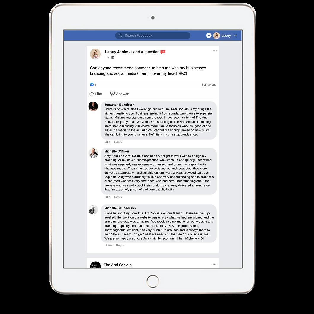The Anti Socials Client Feedback Client Review Client Testimonials Digital Marketing Services Brisbane Australia