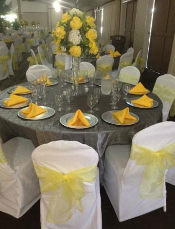 Silver and Yellow Table Setting
