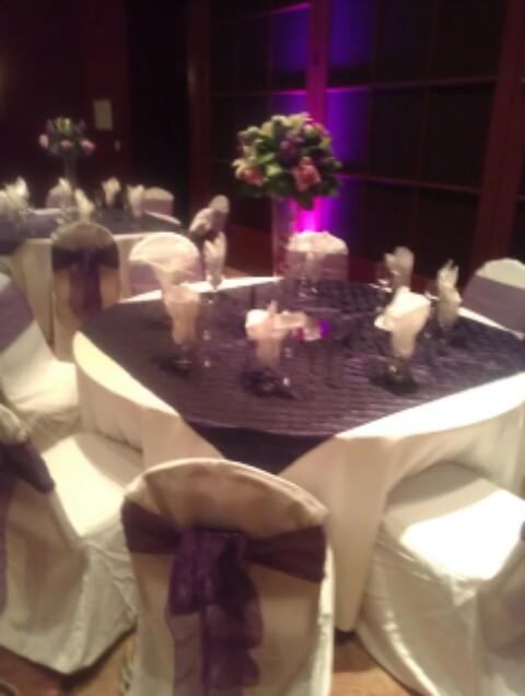 White and Eggplant Table Setting