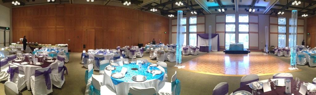 Purple and Blue Green Table Setting