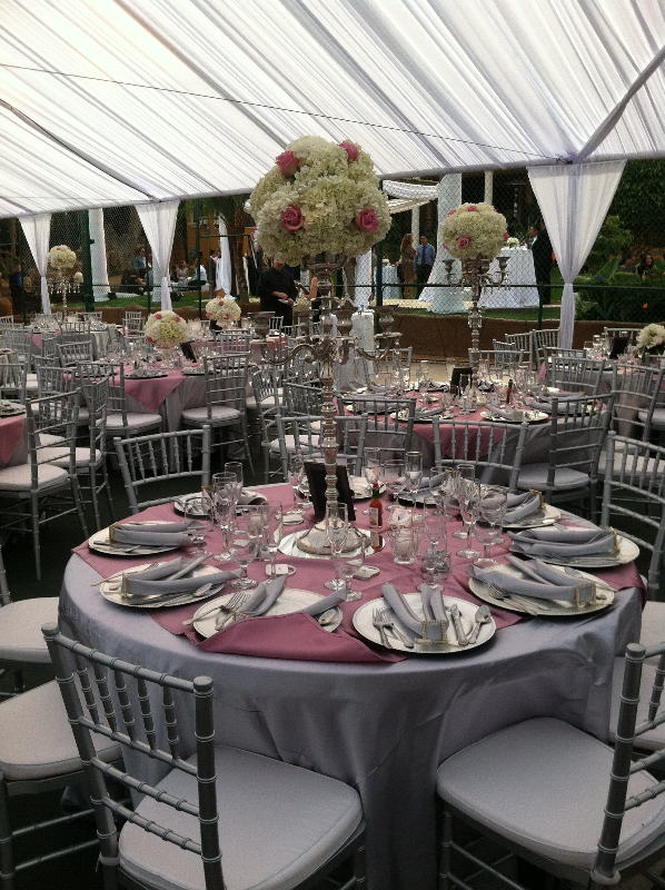 Silver and Lavender Table Setting