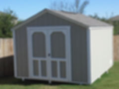 This is a 10'x12' gable style shed with a 6' sidewall and a 4' ridge vent.