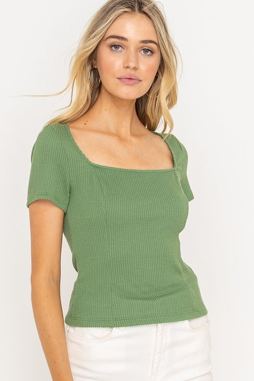 Ribbed Square Neck Moss Green Top