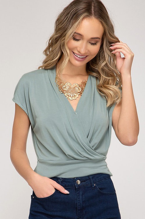 Wrap Top Surplice Blouse