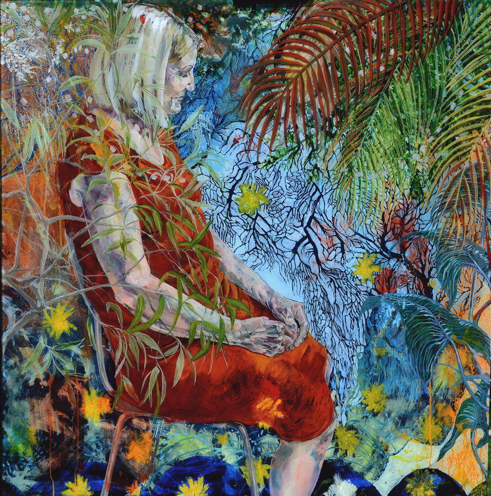 figura em ambiente vegetal . oil on plexiglass  130 x 130 cm . 2015