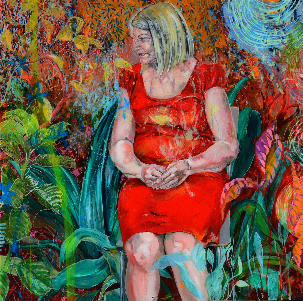 figura em ambiente vegetal . oil on plexiglass  elemement 130 x 130 cm . 2015