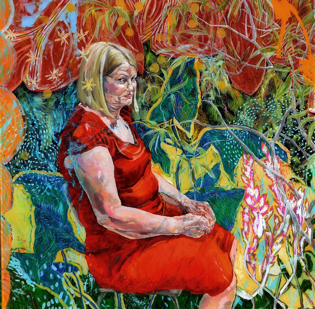 figura em ambiente vegetal . oil on plexiglass  element 130 x 130 cm . 2015