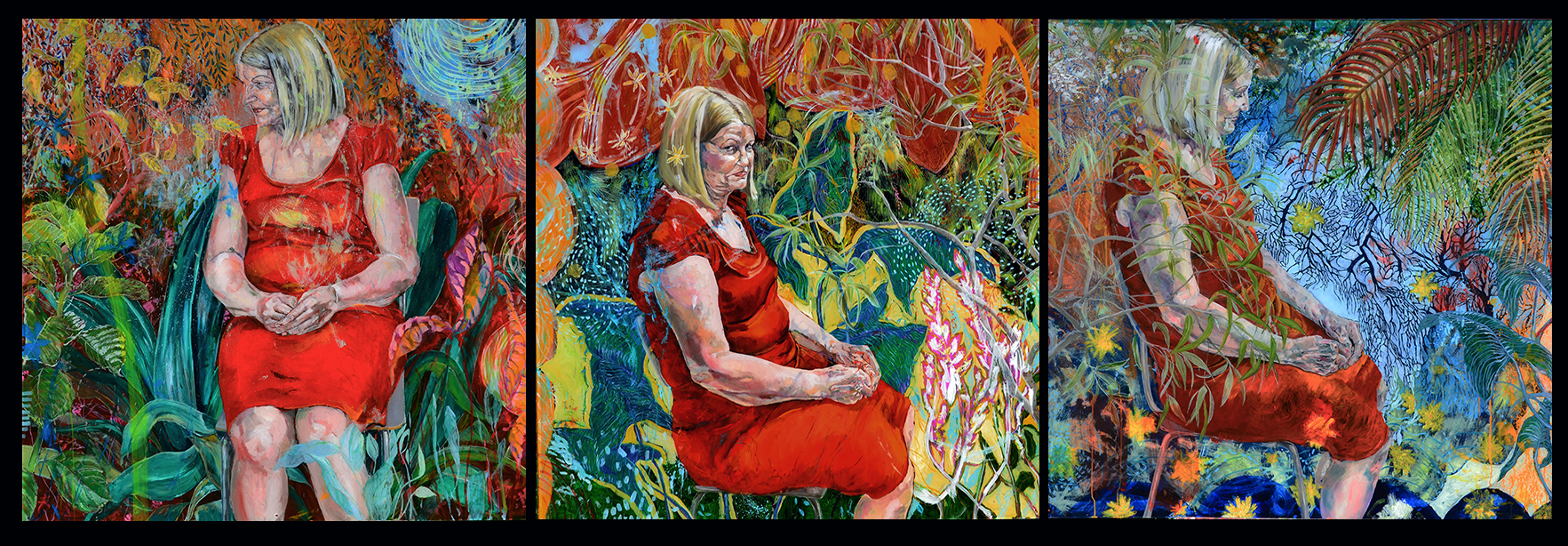 figura em ambiente vegetal . oil on plexiglass . 130 x 390 cm . 3 elementos . 2015