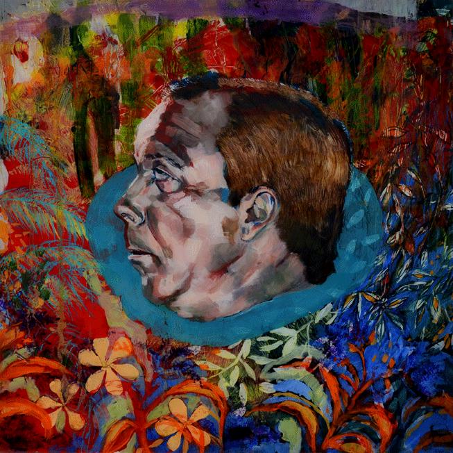 head . martyr . oil on plexiglass .  50 x 50 cm .  2015