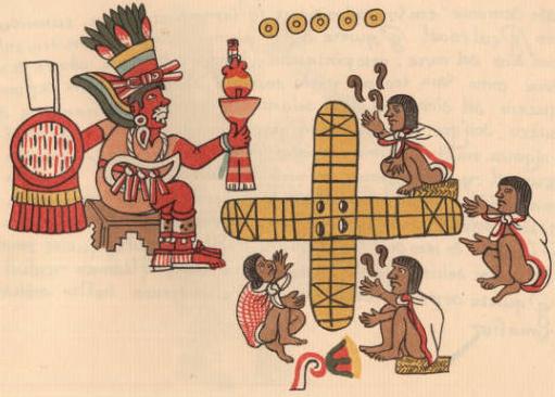 Macuilxochitl observe une partie de Patouli (Codex Magliabechiano, Université de Berckley).