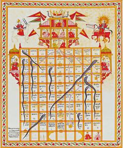 Plateau de jeu de serpents et d'échelles, gouache sur tissus (India, XIXe)