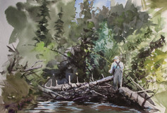 Dad on Crooked Creek 8x12