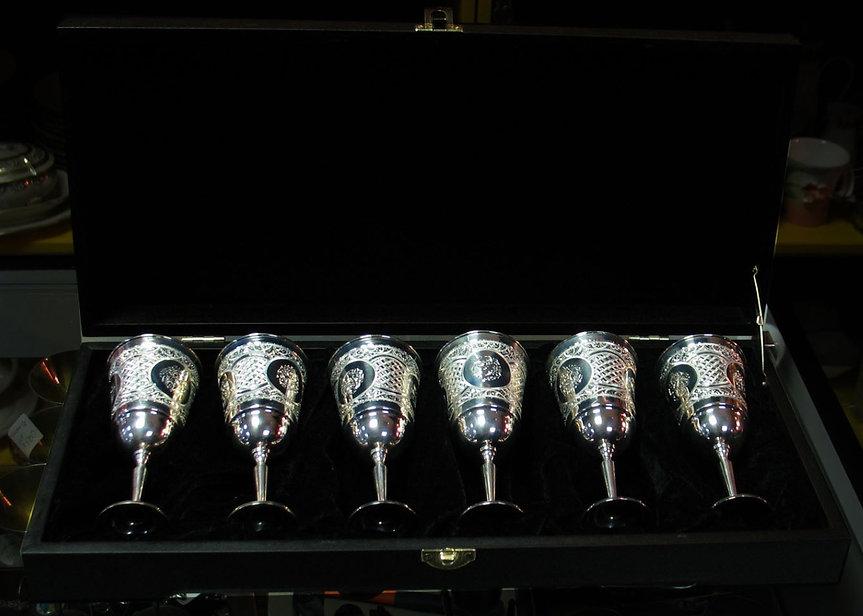 Бокалы серебряные Набор бокалов в коробке 6 бокалов 925 пробы