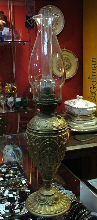 Керосиновая лампа ГерманияXIX век (?)  Высота с плафоном 51см.
