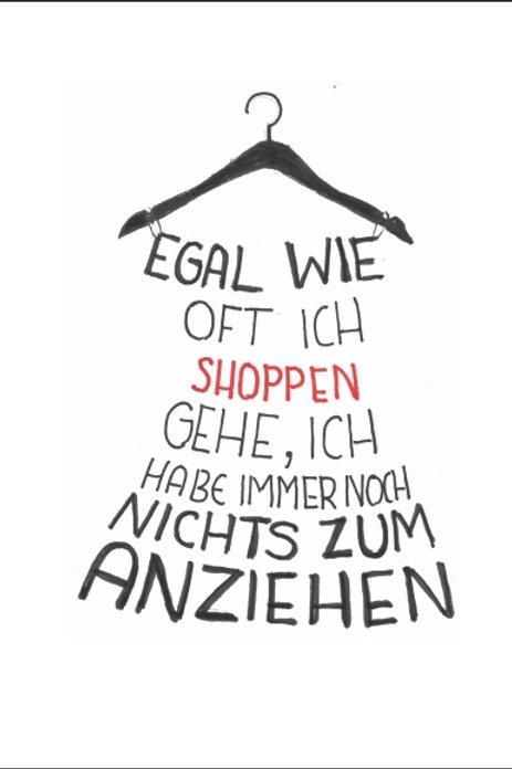 """Gutschein Motiv """"Egal wie oft ich shoppen  gehe...."""""""