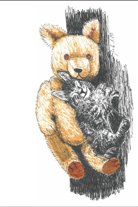 """Gutschein Motiv """"Katze mit Bär"""""""