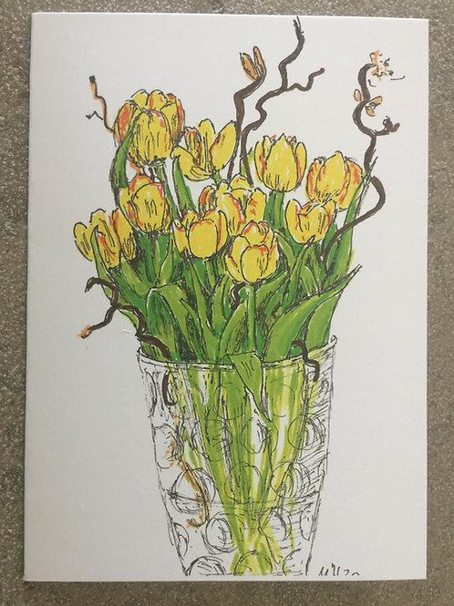 """Gutschein Motiv """"Vase mit gelben Tulpen"""""""