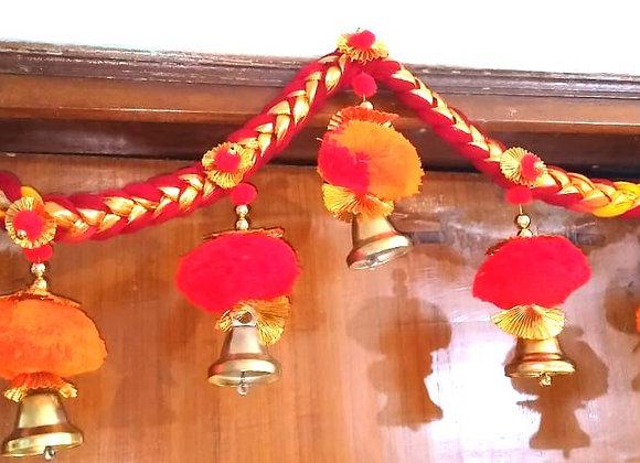 Today Fashion Handmade Heavy pom pom Hanging Bells Door Bandarwar/Toran