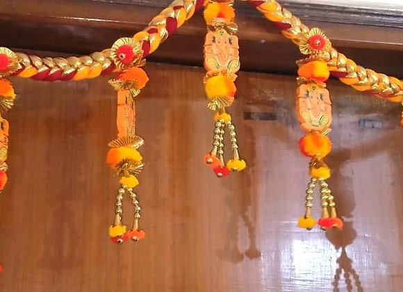 Today Fashion Handcrafted Door Hanging Toran of Ganesha with Colorful Pom Pom