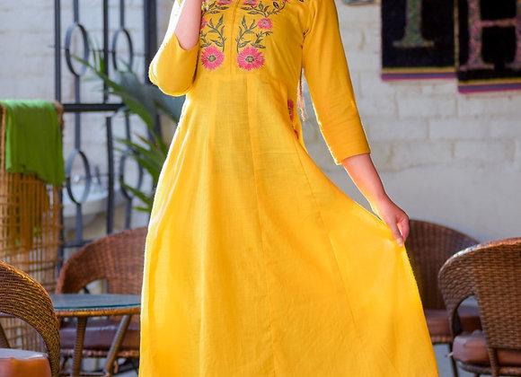 Today Fashion Women's Rayon Slub Adda Work Anarkali Style Kurti with Pant Set