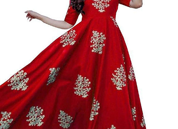 Today Fashion Awesome Red Color Rayon Gown for Women(Stitched)