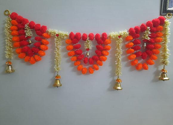 Today Fashion Handmade pom pom Door Bandarwar with Golden Hanging Bells/Torans