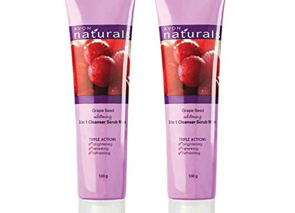 Avon Naturals Grape Seed Whitening 3-in-1 Cleanser Scrub Mask, 100ml Each - Set of 2