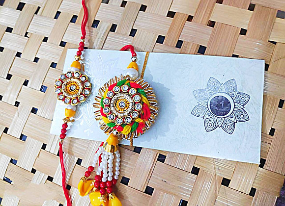 Today Fashion Bhaiya Bhabhi Rakhi Set  (2 Designer Rakhis for Bhaiya-Bhabhi )