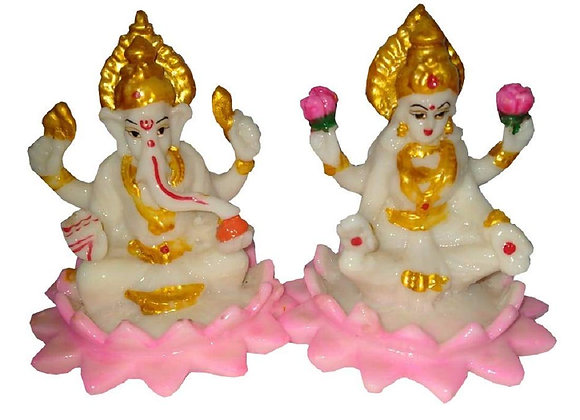 Today Fashion Polyresin Laxmi Ganesha Idol Decorative Statue for Diwali 3.5 inch