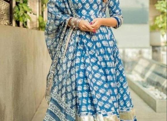 Today Fashion Women's Cotton Printed Frock Style Kurta pant With Dupatta Set