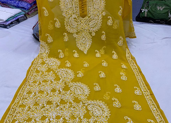 Today Fashion Women's Georgette Hand Embroidered Long Kurti