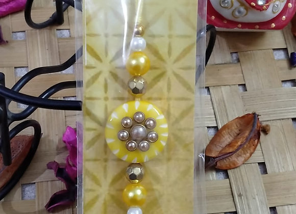 Today Fashion Pearl Yellow Rakhi for Brother