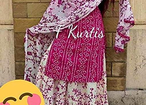 Today Fashion Women's Bandhej Print Rayon Straight Kurti Skirt Dupatta Set