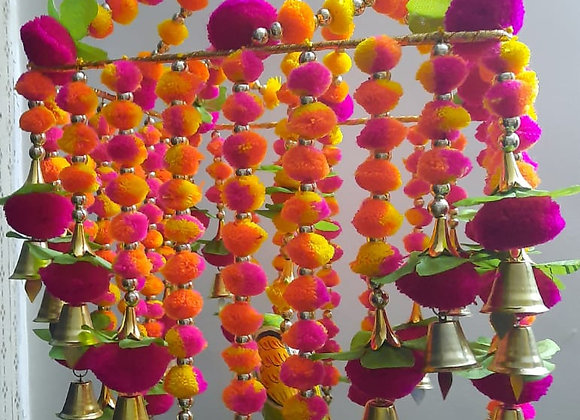 Today Fashion Handmade Pom Pom with Hanging Bells Jhumar/Toran Jhumar