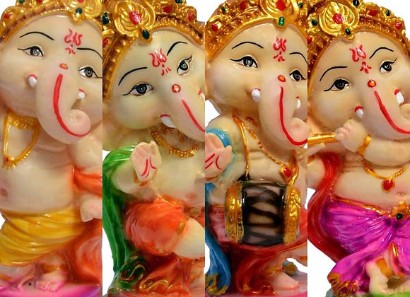 Ganapati Bappa/Dancing Set of 4 Pieces Poly Resin Marble Figurine/Idol (5 inch)
