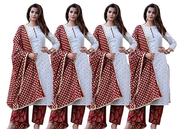 Today Fashion Women's Cotton Kurta High Quality Rayon Palazzo Dupatta Set