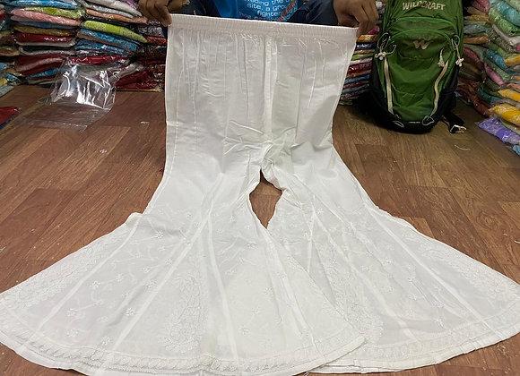 Today Fashion Women Embroidered Cotton Kali Sharara (White)
