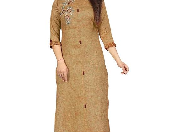 Today Fashion Women's Cotton Long Brown Long Kurti (Stitched)