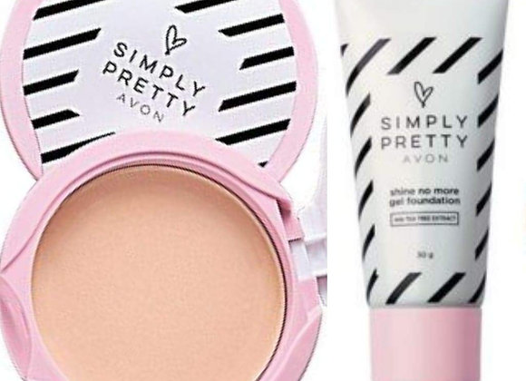 Avon Simply Pretty Shine-no-More Pressed Powder & Gel Foundation (Medium Beige)