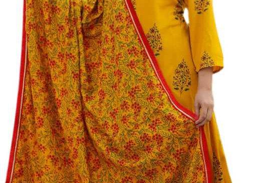 Today Fashion Women's Rayon Yellow Printed Kurti , Pant & Dupatta Set