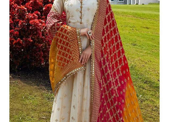 Today Fashion Women's Rayon Beautiful Gown Full Gold Print With Dupatta
