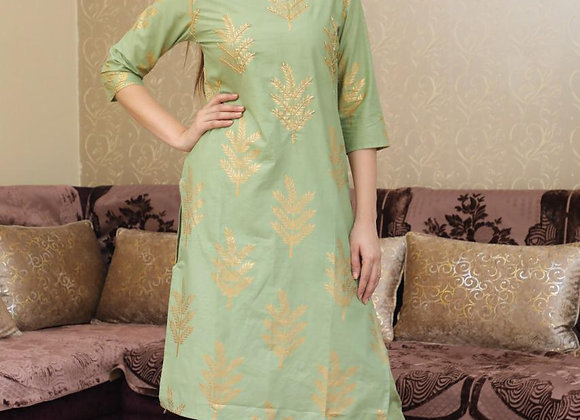 Today Fashion Women's Cotton Hand Work Kurti With Printed Pant