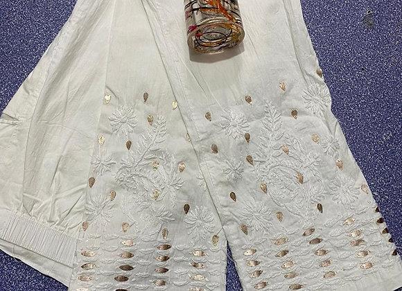 Today Fashion Indian Cotton Gotta Patti White Comfortable Pant For Women