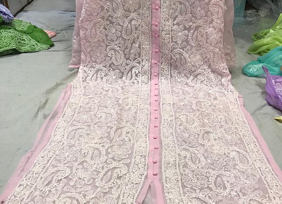 Today Fashion Lucknow Chikanakri Embroidered Front Open long kurti For Women