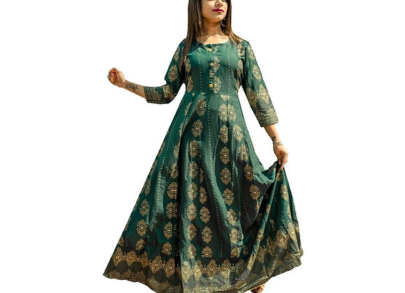Today Fashion Women Printed Rayon Green Gown