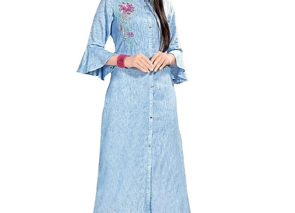 Today Fashion Women's Blue Rayon Kurti (Stitched)