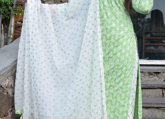 Today Fashion Women's Rayon Slub Kurta Palazzo Cotton Mal Mal Dupatta