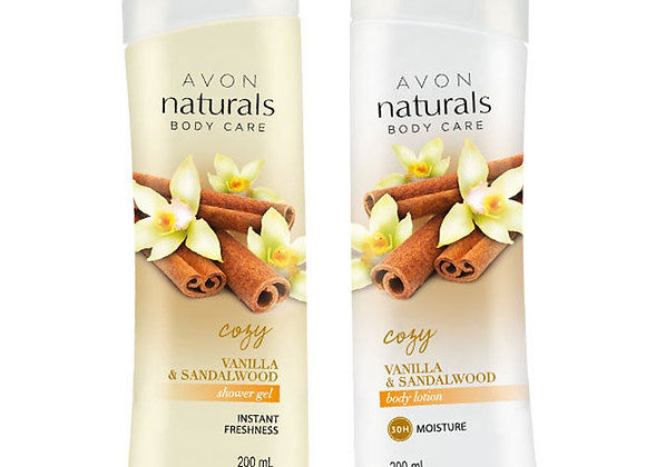 Avon Naturals Vanilla & Sandalwood Body Lotion & Shower Gel (200 ml each)
